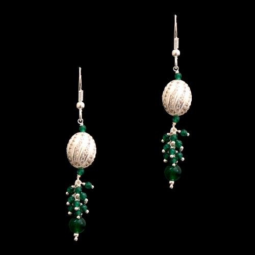 CZ AND GREEN BEADS HANGING EARRINGS