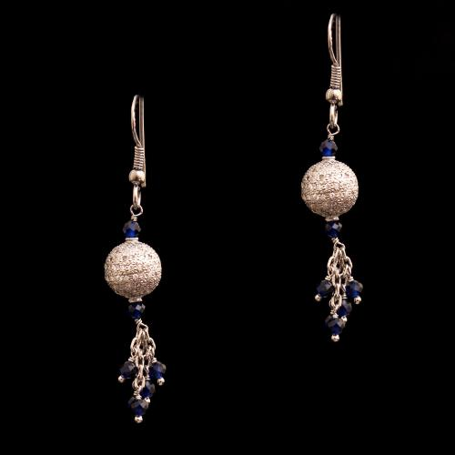 CZ ANSD BLUE BEADS HANGING EARRINGS