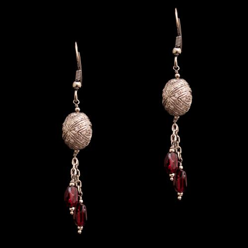 CZ  AND GARNET HANGING EARRINGS