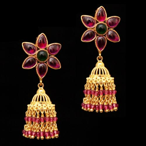 GOLD PLATE FLORA JHUMKAS WITH RED CORUNDUM AND GREEN HYDRO DROPS EARRINGS
