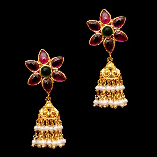 GOLD PLATE FLORA JHUMKAS WITH RED CORUNDUM AND GREEN HYDRO WITH PEARL DROPS EARRINGS