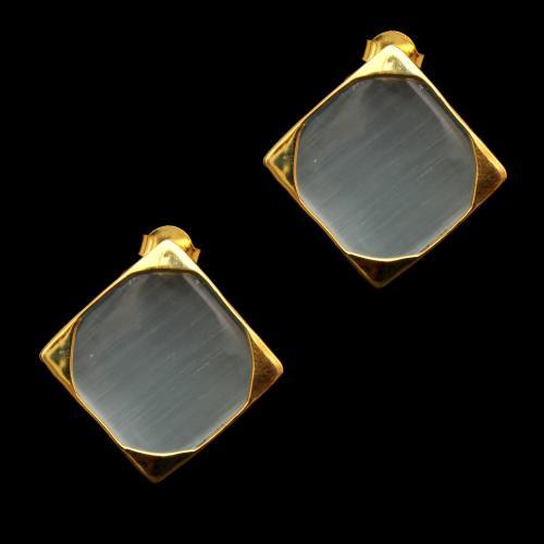 GOLD PLATED MONALISA STONE DROPS EARRINGS