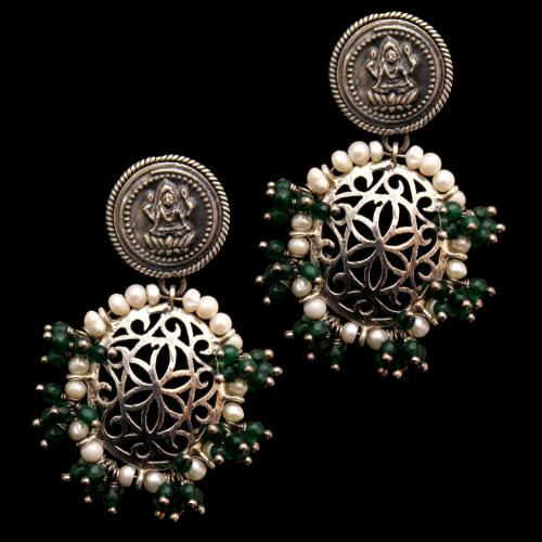 OXIDIZED LAKSHMI WITH GREEN JADE BEADS WITH PEARL DROPS EARRINGS
