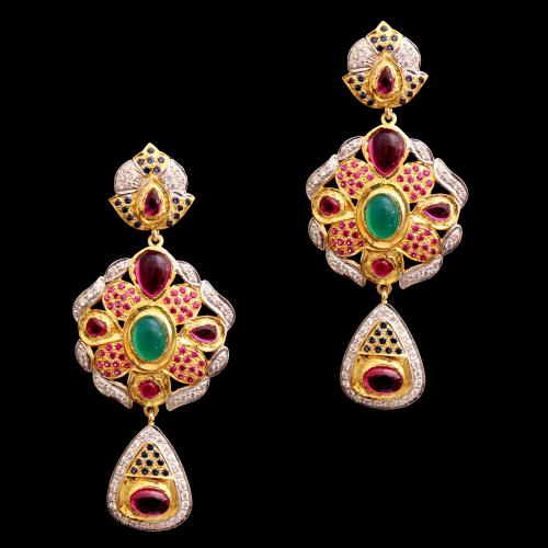 GOLD PLATED CZ WITH RED AND GREEN OYNX DROPS EARRINGS