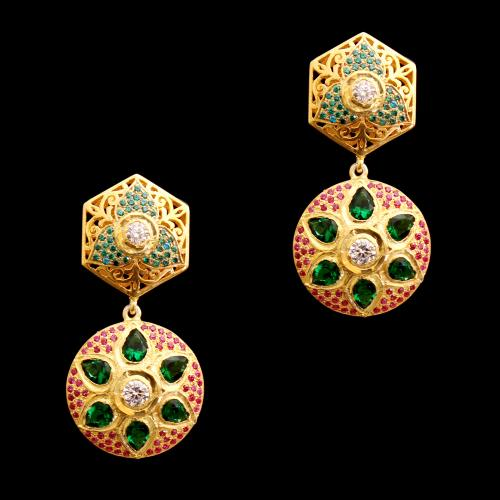 GOLD PLATED WHITE AND GREEN CZ DROPS EARRINGS