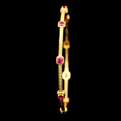 GOLD PLATED RED CZ STONE BANGLES