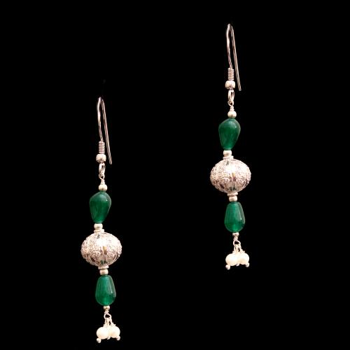 CZ AND RED OYNX WITH PEARL HANGING EARRINGS