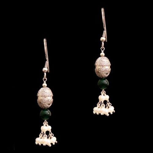 CZ AND GREEN OYNX WITH PEARL HANGING EARRINGS