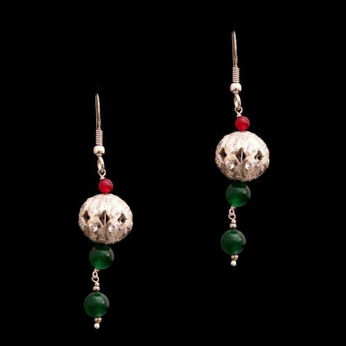 CZ WITH RED GREEN OYNX HANGING EARRINGS