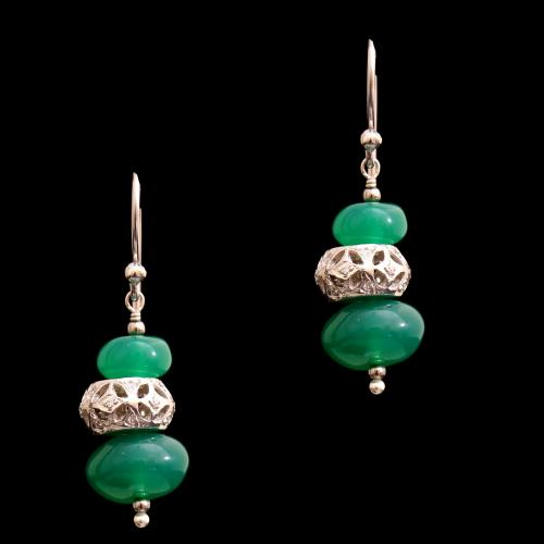 CZ AND GREEN OYNX HANGING EARRINGS