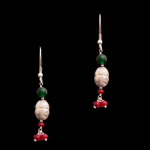CZ WITH RED AND GREEN OYNX HANGING EARRINGS