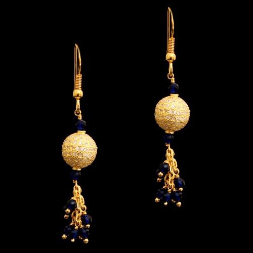 GOLD PLATED CZ HANGING EARRINGS WITH BLUE SAPPHIRE BEADS