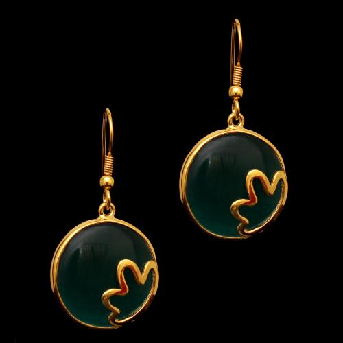 GOLD PLATED MONALISA HANGING EARRINGS