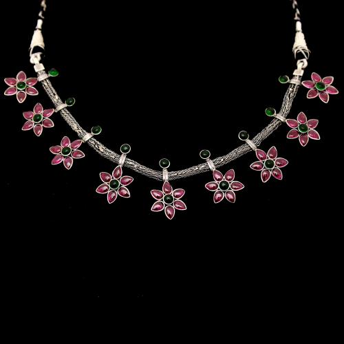 OXIDIZED RED GREEN ONYX FLORAL NECKLACE