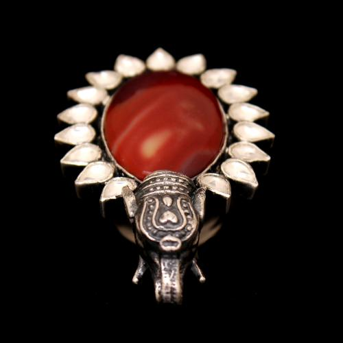KUNDAN AND MOOKAITE JASPER ELEPHANT OXIDIZED RINGS