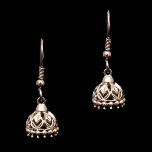 OXIDIZED SILVER HANGING JHUMKAS