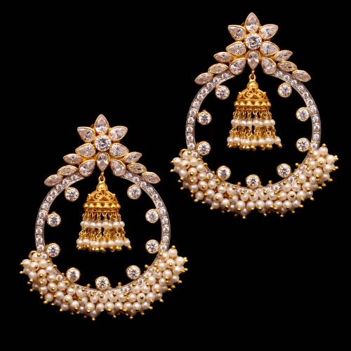 GOLD PLATED CZ AND PEARL DROPS EARRING