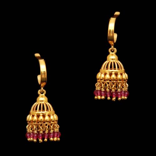 GOLD PLATED RED HYDRO KOPPU EARRING