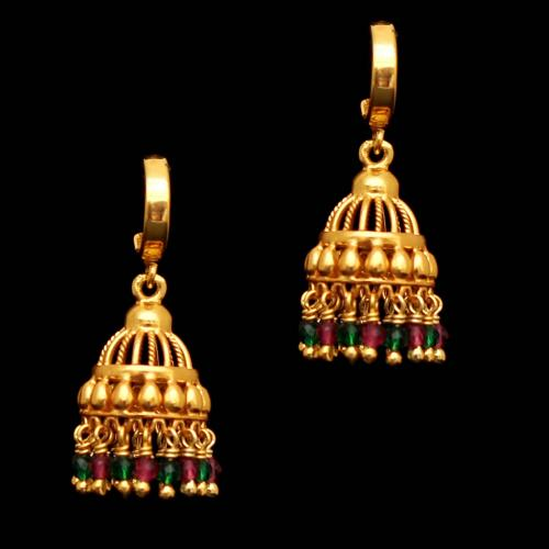 GOLD PLATED GREEN AND RED  HYDRO KOPPU EARRING
