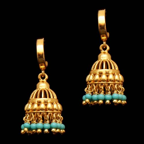 GOLD PLATED TURQUOISE KOPPU EARRING