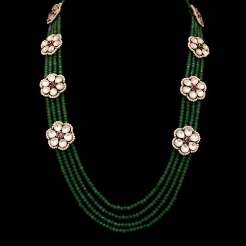 KUNDAN STONE NECKLACE WITH GREEN HYDRO AND PEARL BEADS