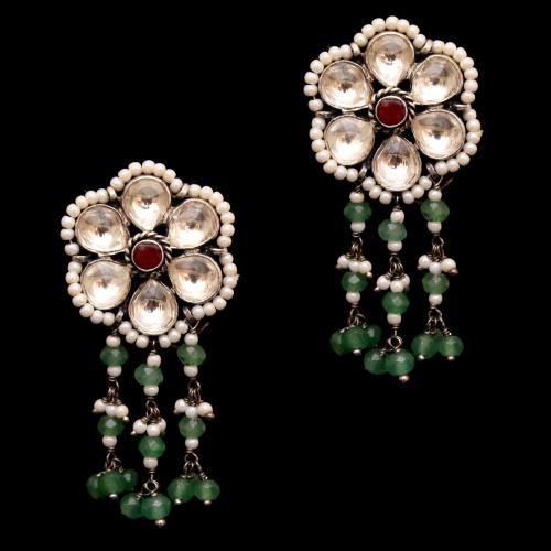 KUNDAN DROPS EARRING WITH GREEN HYDRO AND PEARL BAEDS