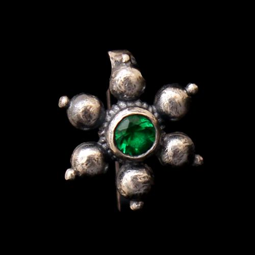OXIDIZED SILVER FLORAL CZ NOSE PIN