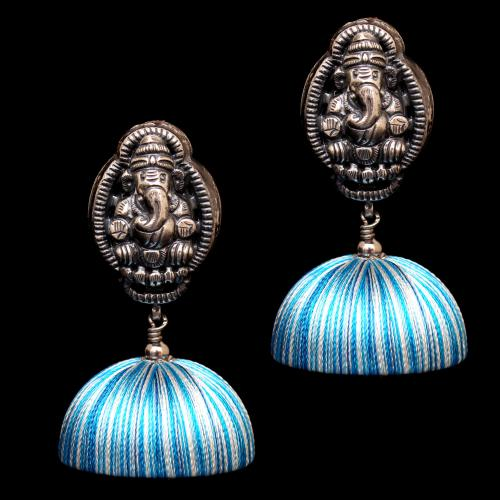 OXIDIZED SILVER GANESHA THREAD JHUMKA EARRINGS