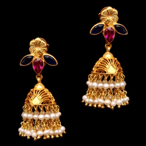 GOLD PLATED  RED HYDRO AND PEARL DROPS JHUMKA EARRINGS