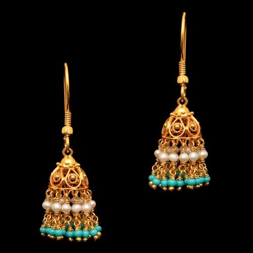 GOLD PLATED TURQUOISE AND PEARL BEAD HANGING JHUMKAS