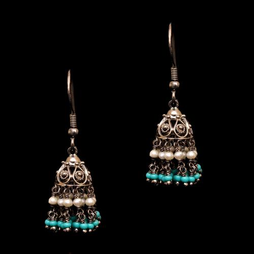 OXIDIZED SILVER TURQUOISE AND PEARL BEAD HANGING JHUMKAS
