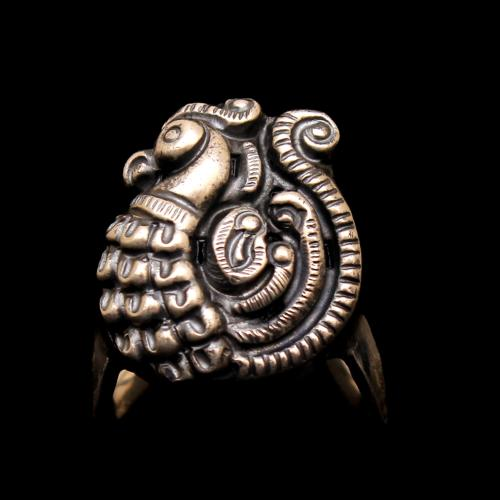 OXIDIZED SILVER PEACOCK RING