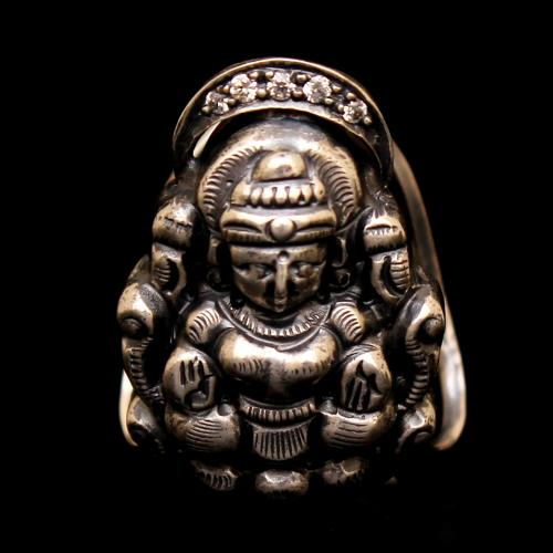 OXIDIZED SILVER LAKSHMI RING