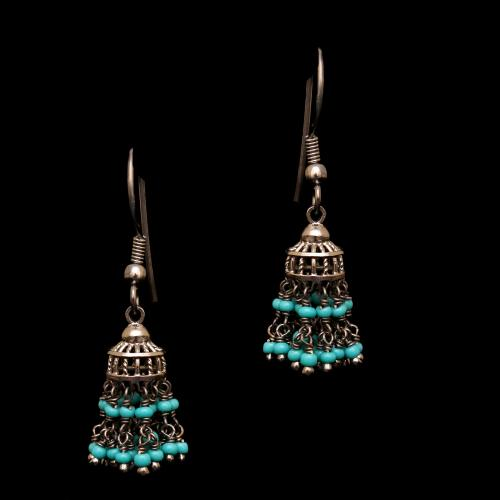 OXIDIZED SILVER TURQUOISE HANGING JHUMKAS EARRING