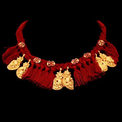 GOLD PLATED LAKSHMI NAKSH THREAD NECKLACE WITH PEARL