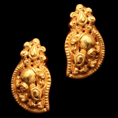 GOLD PLATED PEACOCK DROPS EARRINGS