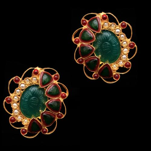 GOLD PLATED RED CORUNDUM AND KUNDAN WITH PEARL DROPS EARRINGS
