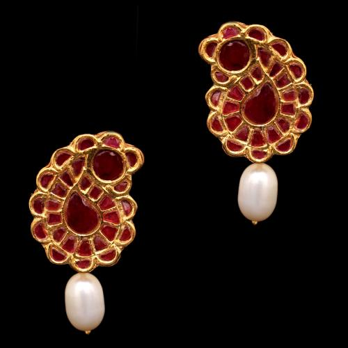 GOLD PLATED KUNDAN  AND PEARL BEADS DROPS EARRINGS