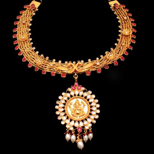 GOLD PLATED GANESHA AND PEACOCK CZ WITH PEARL AND KUNDAN NECKLACE