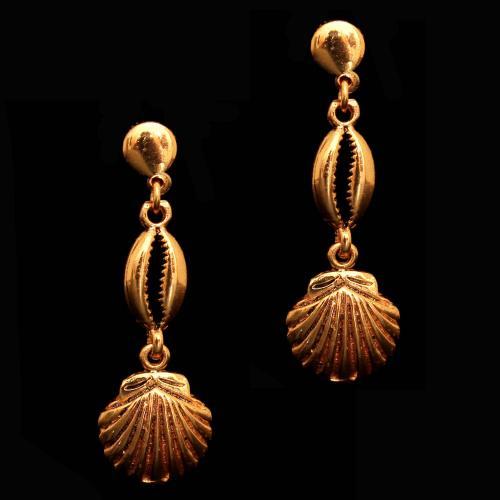 92.5 Sterling Silver Gold Plated Fancy Design Bali Earrings