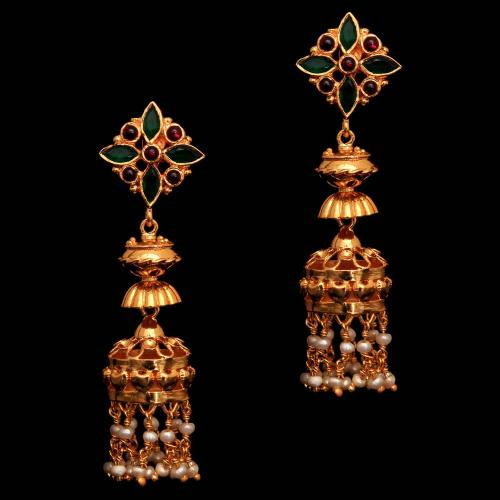 Silver Gold Plated Fancy Design Earring Jhumka Studded Red Onyx,Green Onyx And Pearl Beats