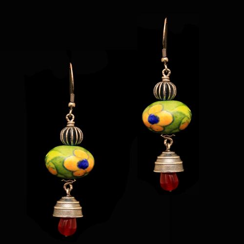 BLUE POTTERY RED ONYX HANGING JHUMKAS