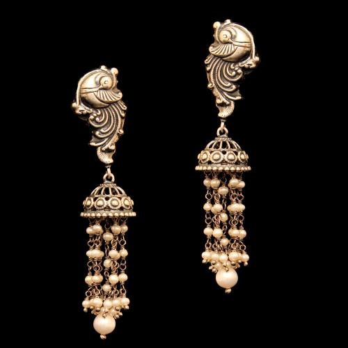 OXIDIZED SILVER PEACOCK RED COURNDUM AND PEARL BEADS JHUMKAS EARRINGS