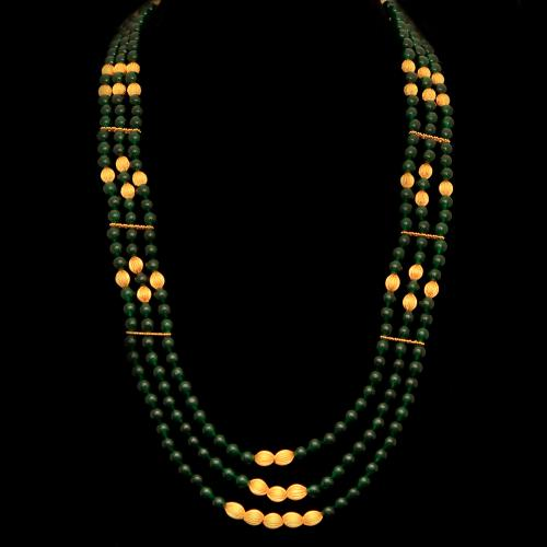 GOLD PLATED GREEN ONYX THREAD NECKLACE