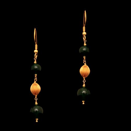 GOLD PLATED GREEN ONYX HANGING EARRINGS