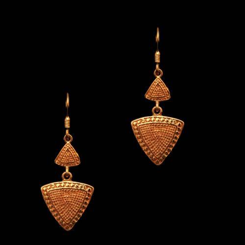 Silver Oxidized Fancy Design Hanging Earrings