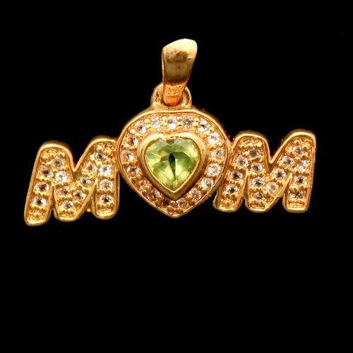 GOLD PLATED CZ AND PERIDOT STONE MOM PENDANT