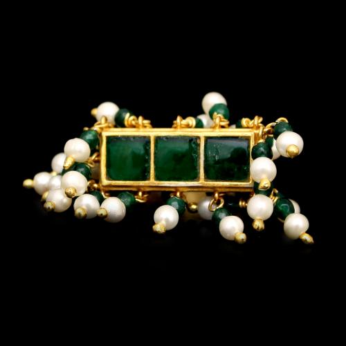 GOLD PLATED KUNDAN CHAND WITH PEARLS AND GREEN HYDRO RINGS