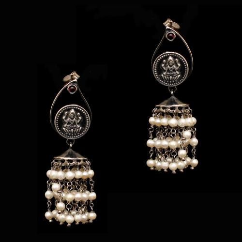 OXIDIZED SILVER LAKSHMI COIN DROPS WITH PEARL BEADS