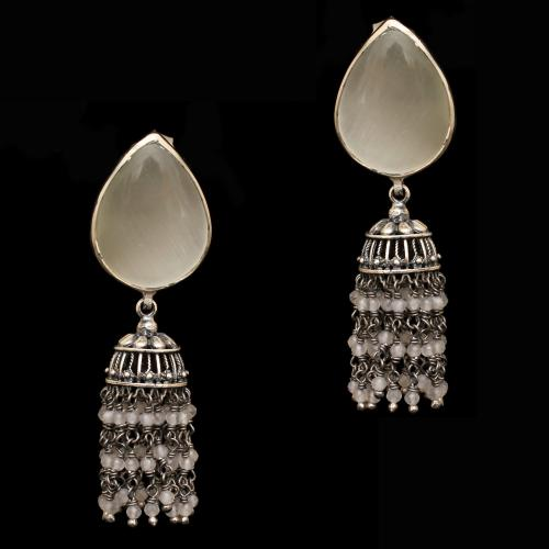 OXIDIZED SILVER MONALISA  STONES AND BEADS JHUMKAS EARRING